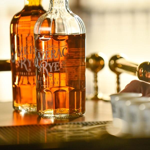 two bottles of Sazerac Rye on the bar