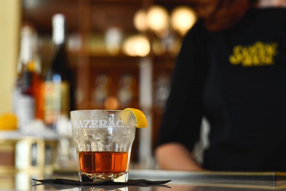 a freshly made Sazerac cocktail