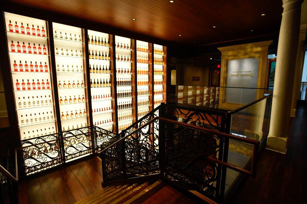 a beautiful wall of bottles