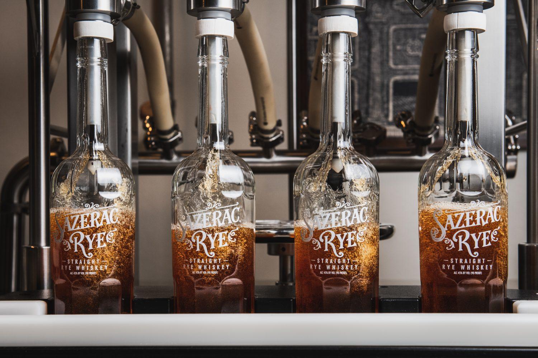 Sazerac Rye Being Bottled on Bottling Line