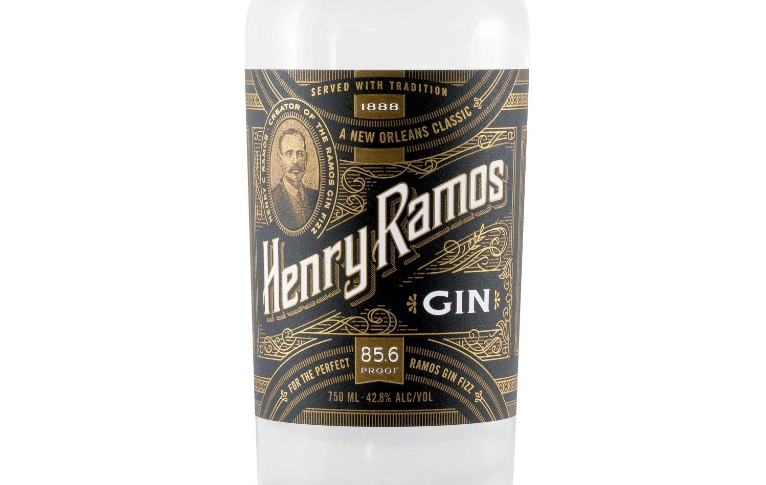 Bottle photo of Henry Ramos Gin on white background