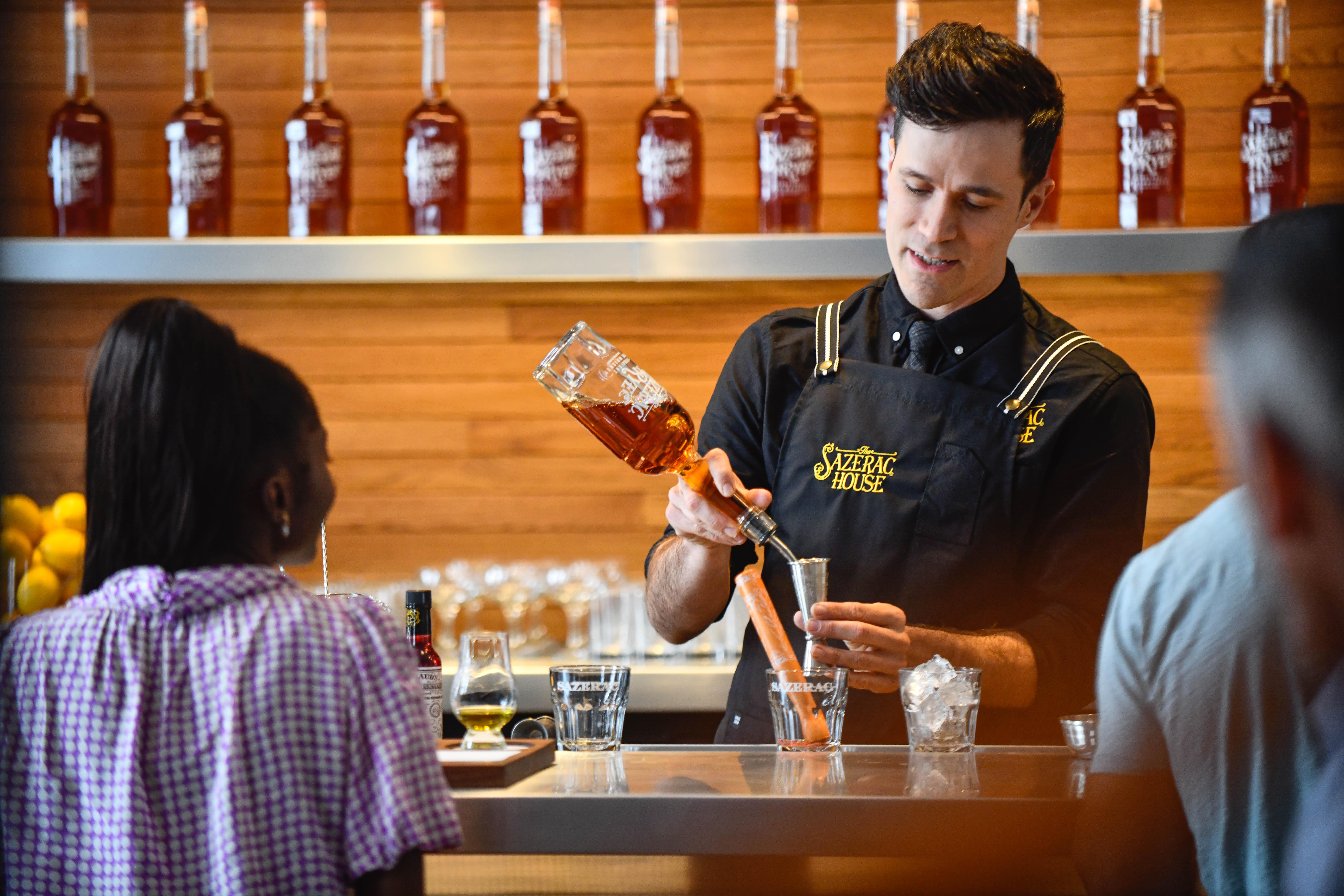 Sazerac Cocktail in the Making