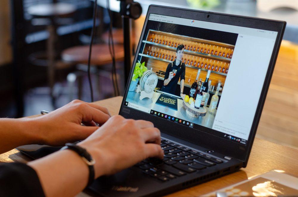 Computer shot of virtual behind the scenes tasting