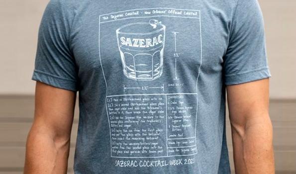 Man wearing Sazerac Cocktail t-shirt